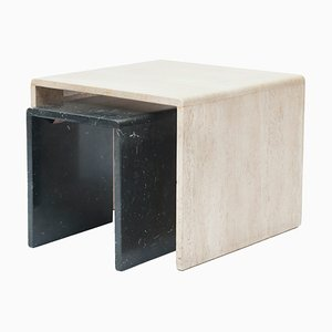 Vintage Italian Travertine Marble Nesting Tables, 1970s