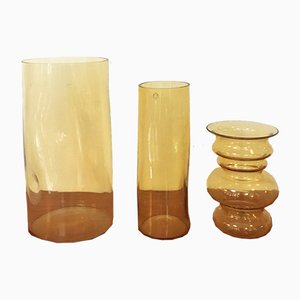 Italian Yellow Murano Glass Vases by Carlo Nason, 1970s, Set of 3