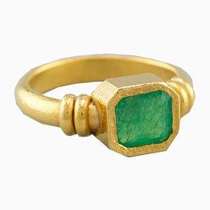 Anello 21.6 Karat color oro e smeraldo di Armin Haase, anni '80