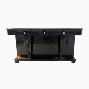 Art Deco Italian Black and Brass Console Table, 1940s
