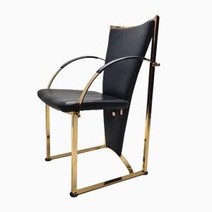 Chaises de Salon en Laiton et Cuir de Ronald Schmitt, Allemagne, 1990s, Set de 4