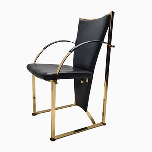 German Brass and Leather Dining Chairs from Ronald Schmitt, 1990s, Set of 4