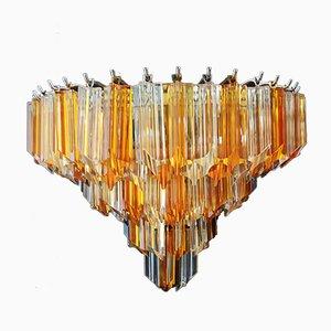 Vintage Klar und Bernsteingelbe Muranoglas Quariedri Wandlampen, 1970er, 2er Set