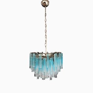 Vintage Blue Murano Glass Quadriedri Ceiling Lamp, 1980s
