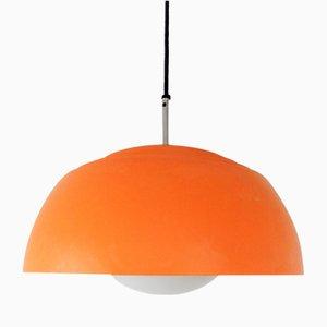 Lámpara colgante sueca vintage de vidrio y metal naranja de Hans-Agne Jakobsson, años 70