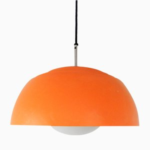 Vintage Swedish Orange Metal and Glass Pendant Lamp by Hans-Agne Jakobsson, 1970s