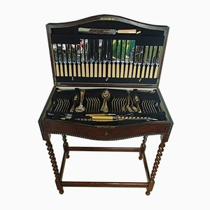19th Century Oak Table and Cutlery Set from Harrison Fisher & Company