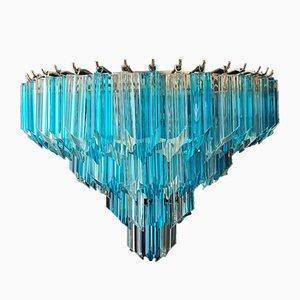 Appliques Quadrifriantes Vintage en Verre Murano Transparent et Bleu, 1970s, Set de 2