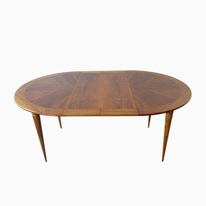 Extendable Round Walnut and Brass Dining Table by José Cruz de Carvalho for Altamira, 1950s