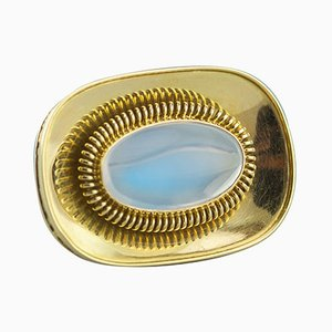 18 Karat Gold and Moonstone Brooch by Otto Hahn, 1950s
