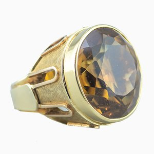 Large 14 Karat Gold and 50 Carat Citrine Ring, 1970s