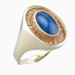 14 Karat Gold and Opal Ring by Ole Lynggaard, 1980s