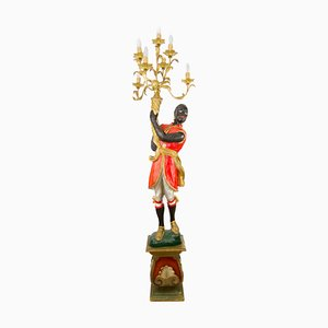 Italian Carved Wood Figural Torchère Floor Lamp, 1950s