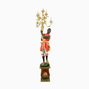 Italienische Torchère Stehlampe aus geschnitztem Holz, 1950er