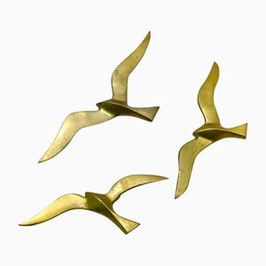 Brass Bird Wall Decorations, 1970s, Set of 3