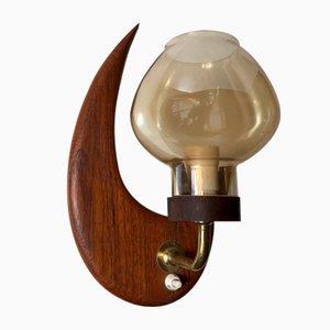 Skandinavische Teak & Rauchglas Mond Wandlampe, 1960er