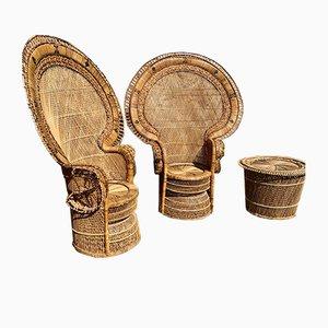 Emmanuelle Korbstühle und Tisch Set, 1970er, 3er Set