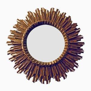 Large Mid-Century Wooden Sunburst Mirror, 1950s