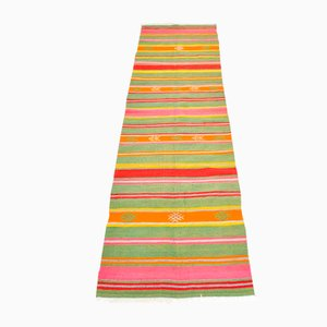 Vintage Turkish Multi-Colored Woolen Runner Rug, 1950s