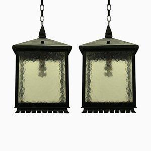 Lanternes Carré Mid-Century en Fer Forgé, Set de 2