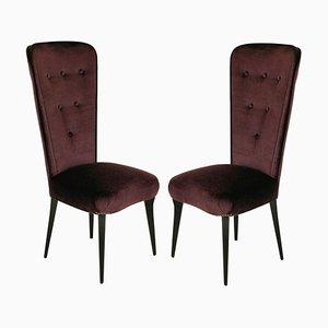 Italian Purple Mohair Velvet Side Chairs, 1950s, Set of 2