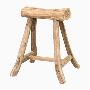 Wooden Chopping Block Stool, 1960s