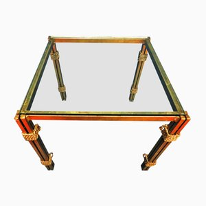 Mid-Century Hollywood Regency Gold-Plated Metal and Glass Side Table