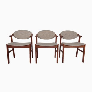 Teak and Beige Wool Chairs by Kai Kristiansen for Schou Andersen, 1960s, Set of 3