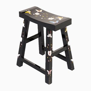 Asian Black Lacquered Hand Painted Stool, 1990s