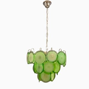 Green Murano Glass Disc Chandelier, 1970s