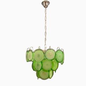 Green Murano Glass Disc Chandelier by Gino Vistosi for Murano, 1970s