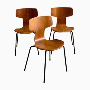 Model 3103 Grand Prix Hammer Dining Chairs by Arne Jacobsen for Fritz Hansen, 1970s, Set of 3