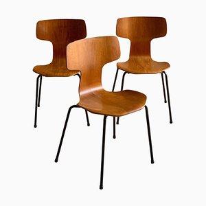 Sedie da pranzo modello 3103 Grand Prix Hammer di Arne Jacobsen per Fritz Hansen, anni '70, set di 3