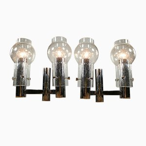 Vintage Sputnik Chrome and Glass Sconces, 1960s, Set of 2