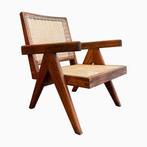 Palisander Sessel aus Schilfrohr von Pierre Jeanneret, 1950er