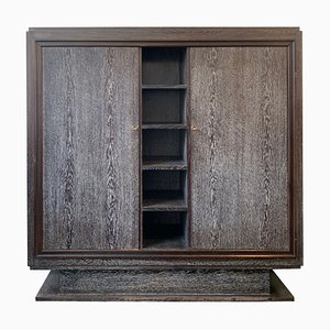 Vintage Art Deco Limed Oak Library Cabinet