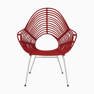 Red Rattan Chair \from Rohé Noordwolde, 1960s