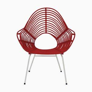 Roter Rattan Stuhl von Rohé Noordwolde, 1960er