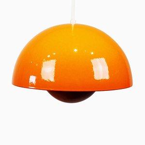 Lampada Flowerpot VP1 arancione di Verner Panton, anni '70