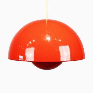 Lampada Flowerpot rossa VP1 di Verner Panton, anni '70