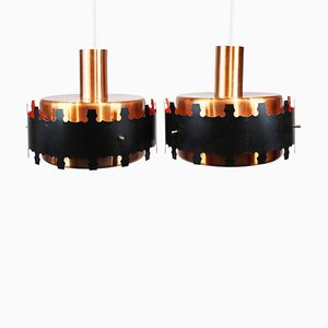 Danish Pendants in Copper and Black Metal, 1970s, Set of 2