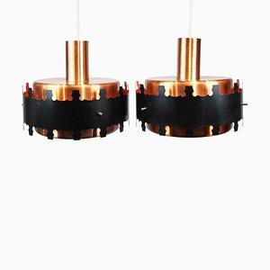 Lámparas colgantes danesas de cobre y metal negro, años 70. Juego de 2