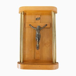 French Art Deco Style Crucifix with Brass Columns, 1950s
