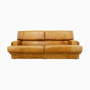 Cognac Leather Sofa by Marco Milicich for Baxter Arcon, 1970s