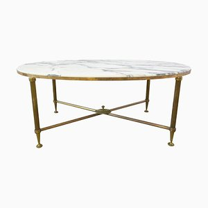 Mid-Century Marble and Gilt Brass Edge Base Coffee Table from Maison Jansen, 1960s