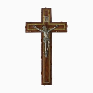 Mid-Century French Wall Crucifix Blessed by Pie XII Pope, 1950s