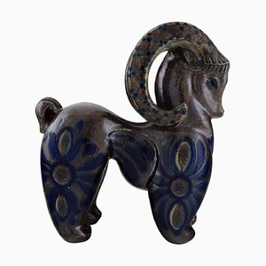 Large Ram Figure in Glazed Ceramic, 1980s