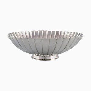 Large Strawberry Bowl in Sterling Silver by Sigvard Bernadotte for Georg Jensen, 1940s