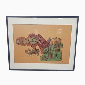 Modern Mixed Watercolor Hellmo Paper with Wood Frame