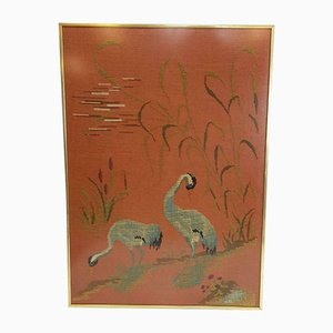 Vintage Eclectic Crane Embroidery with Gold Frame